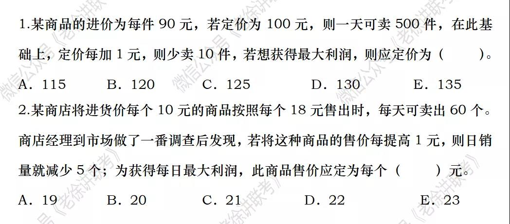 2022MBA考研|管理类联考每日一练-数学-应用题之最值问题