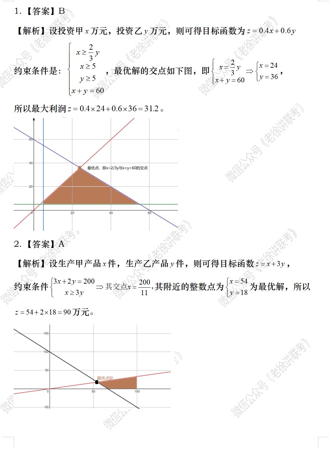 2022MBA考研|管理类联考每日一练-数学-应用题之线性规划问题