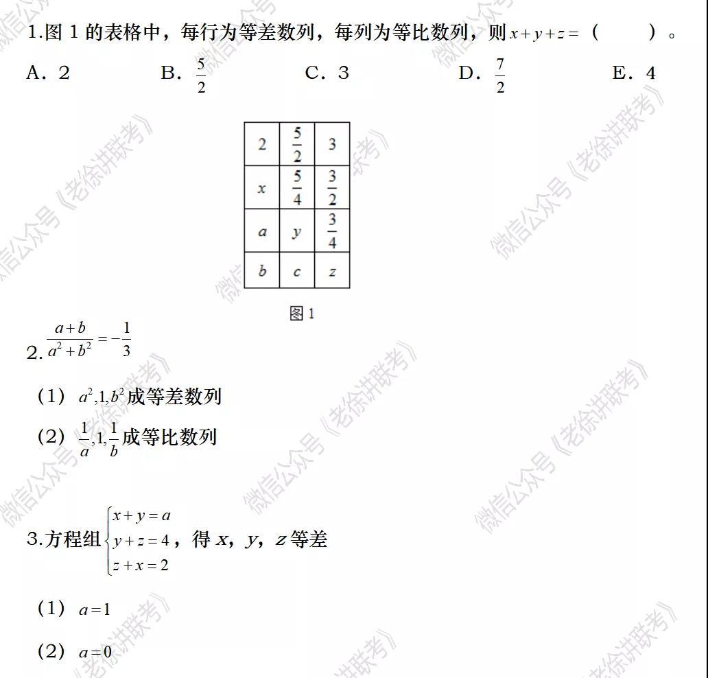 2022MBA考研 管理类联考:数学专题训练--三项数列问题(第三期)