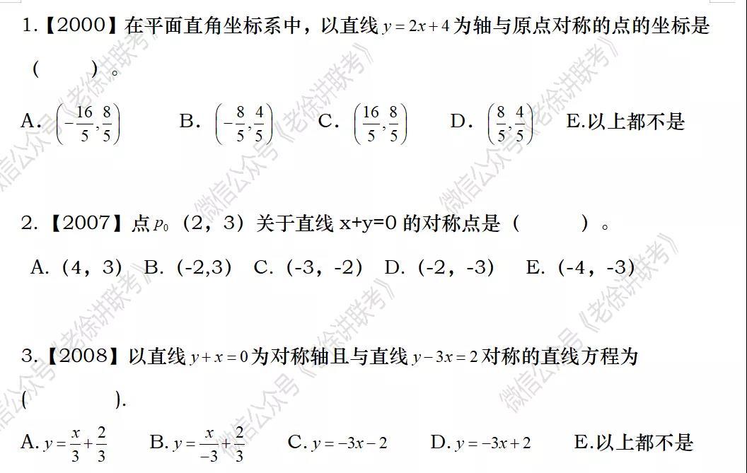 2022MBA考研 管理类联考:数学专题训练-解析几何中的对称问题(第一期)