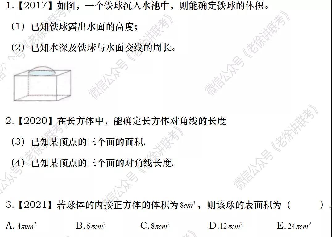 2022MBA考研 管理类联考:数学专题训练-立体几何(第八期)