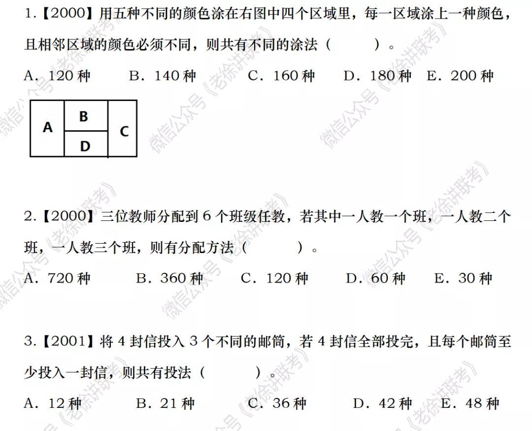 2022MBA考研|管理类联考:数学专题训练-排列组合(第二期)