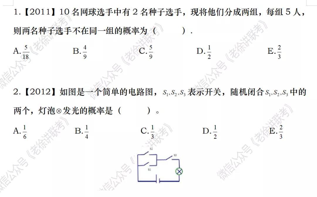 2022MBA考研|管理类联考:数学专题训练-随机取样模型概率(第五期)