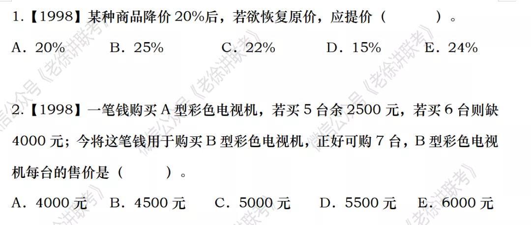 2022MBA考研|管理类联考:数学专题训练-商品利润与打折(第二期)